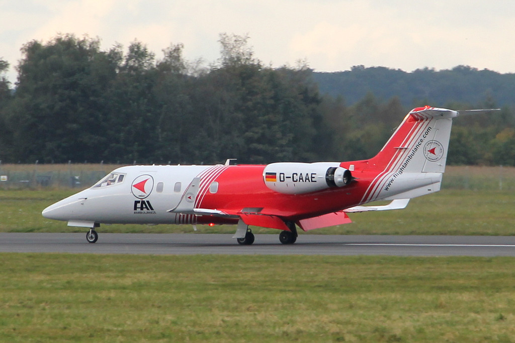 Flight Ambulance International Learjet 55 D-CAAE.<br /> By Clive Featherstone.