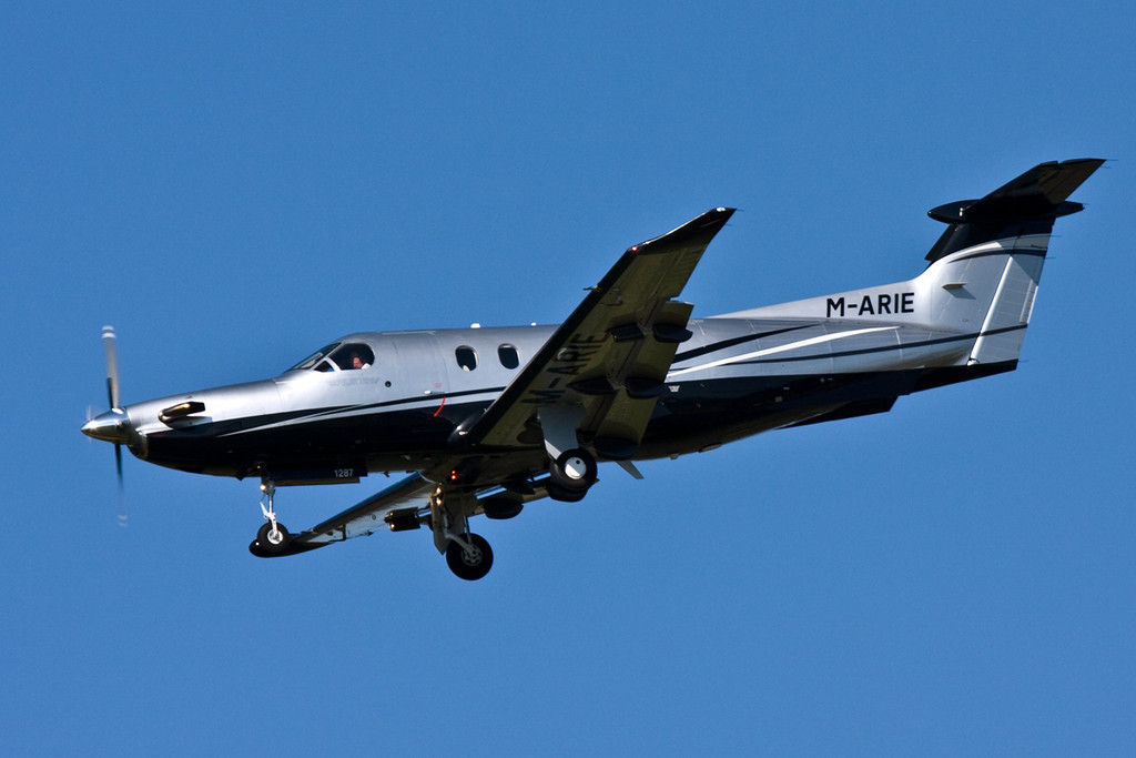 Pilatus PC-12/47E  M-ARIE arriving from Jersey.<br /> By David Bladen.