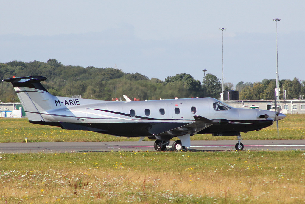 Pilatus PC-12/47E  M-ARIE.<br /> By Clive Featherstone.