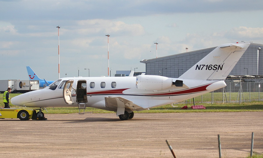 All is revealed.........Cessna C525 Citation CJ1 N716SN C/N 525-0528 (ex M-DINO).<br /> By Jim Calow.
