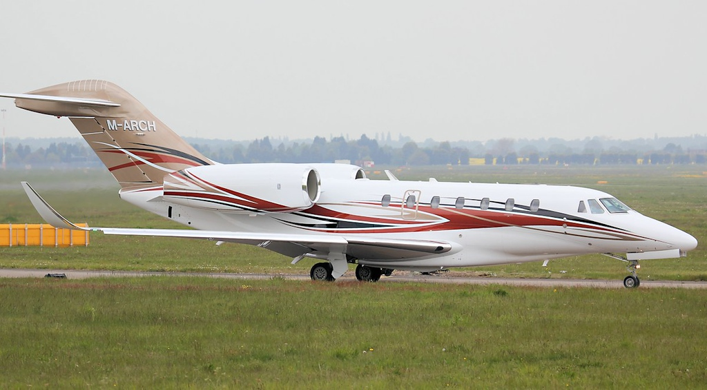 Cessna 750 Citation X M-ARCH C/N 750-0254 (ex N254CX).<br /> By Jim Calow.