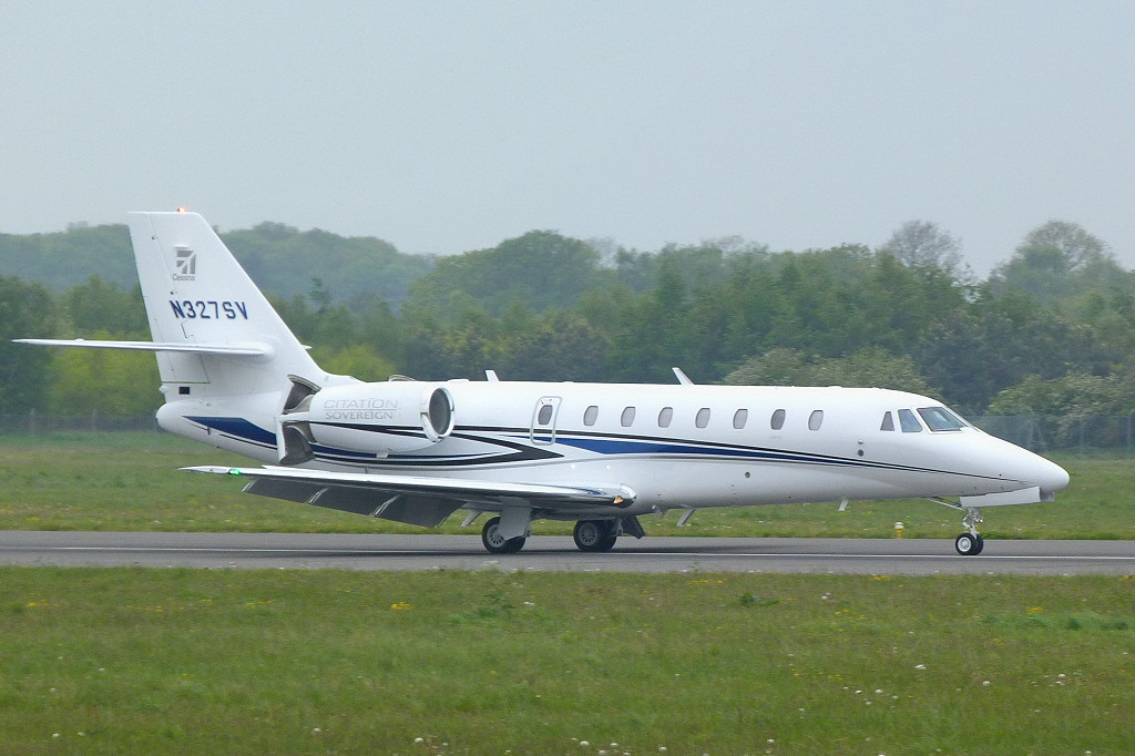 One of Cessna's demonstrator aircraft, Cessna 680 Sovereign  N327SV.<br /> By Clive Featherstone.