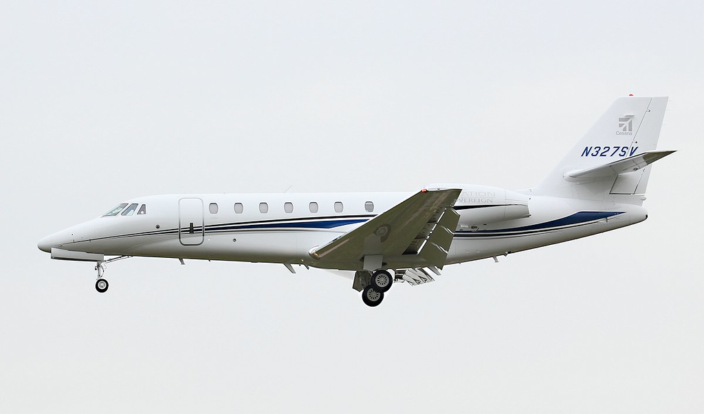 One of Cessna's demonstrator aircraft, Cessna 680 Sovereign N327SV arrives after being on display at EBACE 2012 in Geneva.<br /> By Jim Calow.