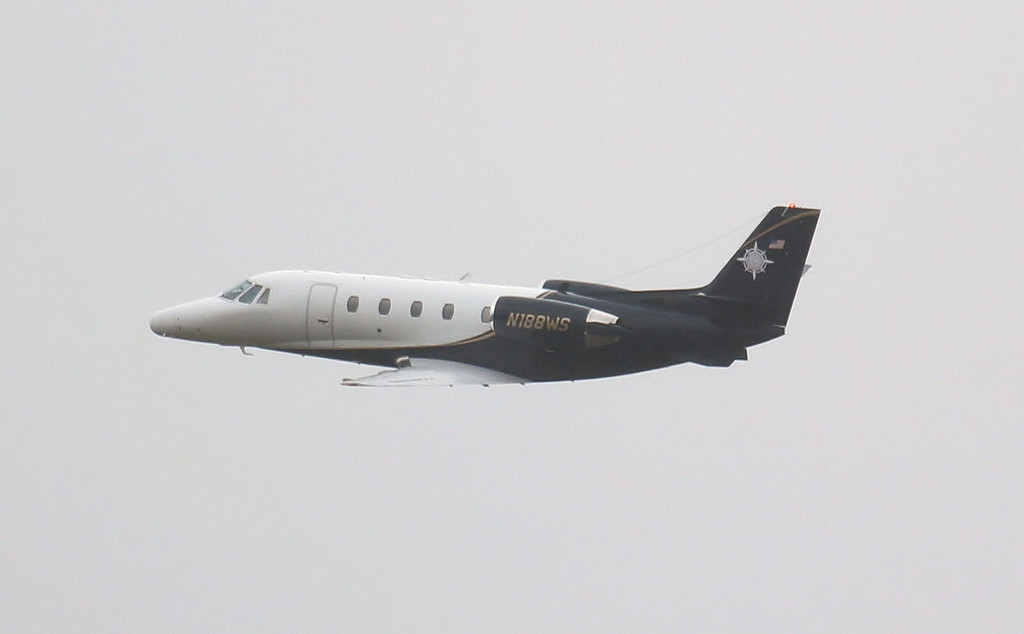 Cessna 560XL Citation Excel N188WS departs for the USA.<br /> By Jim Calow.