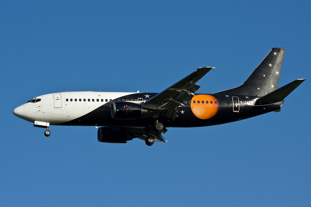 Titan Airways 737-300 G-ZAPW on finals.<br /> By David Bladen.
