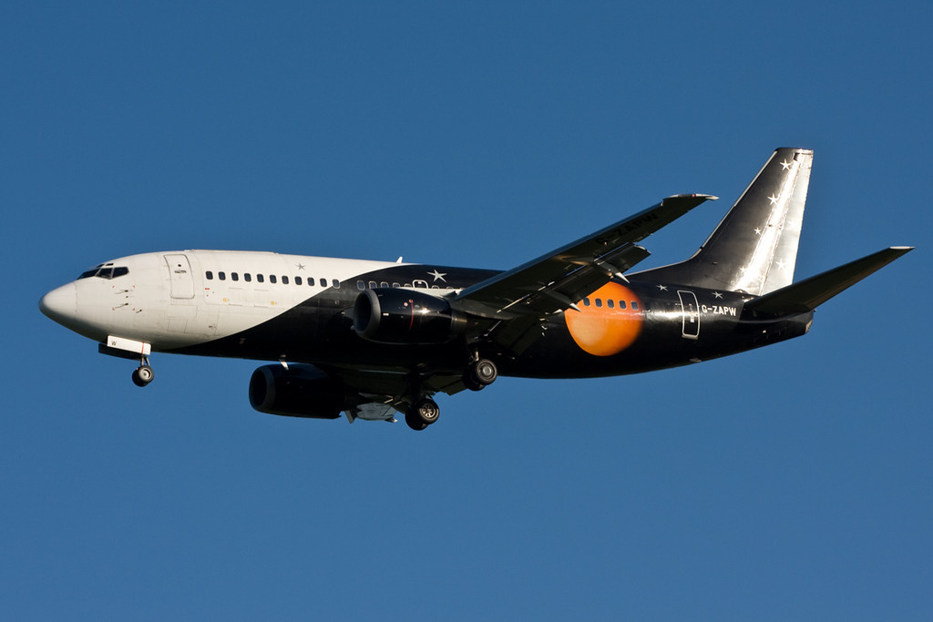 Titan Airways 737-300 G-ZAPW on finals<br /> By David Bladen.