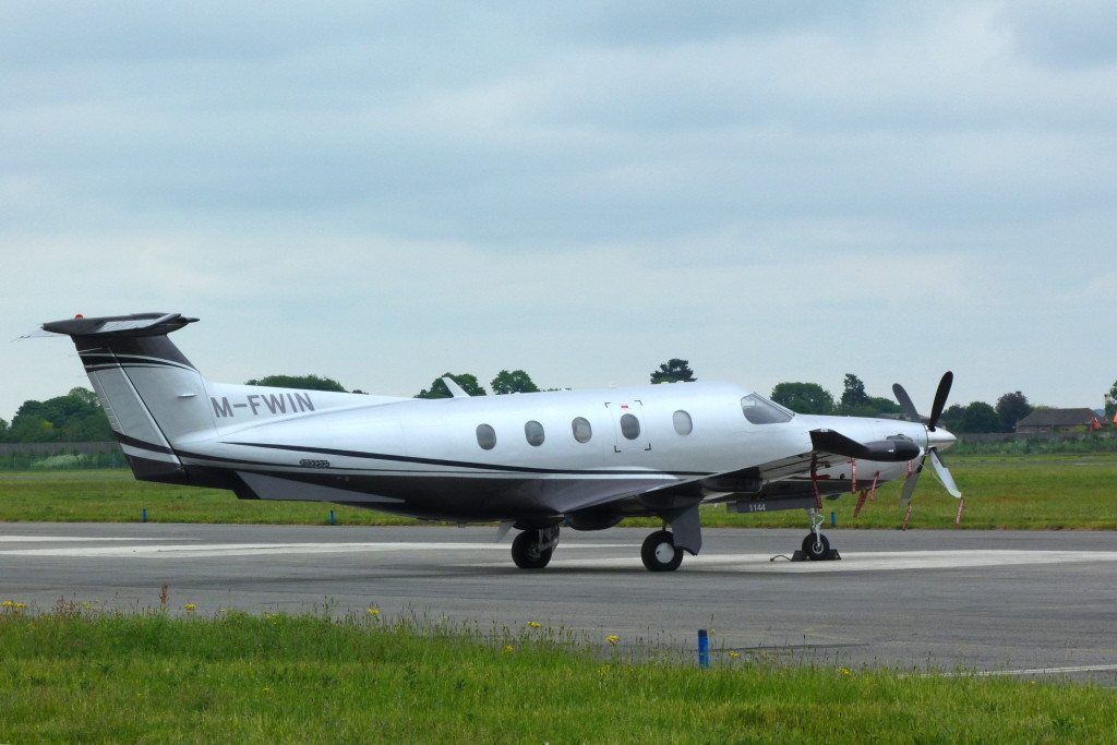Pilatus PC12/47E M-FWIN.<br /> By Clive Featherstone.