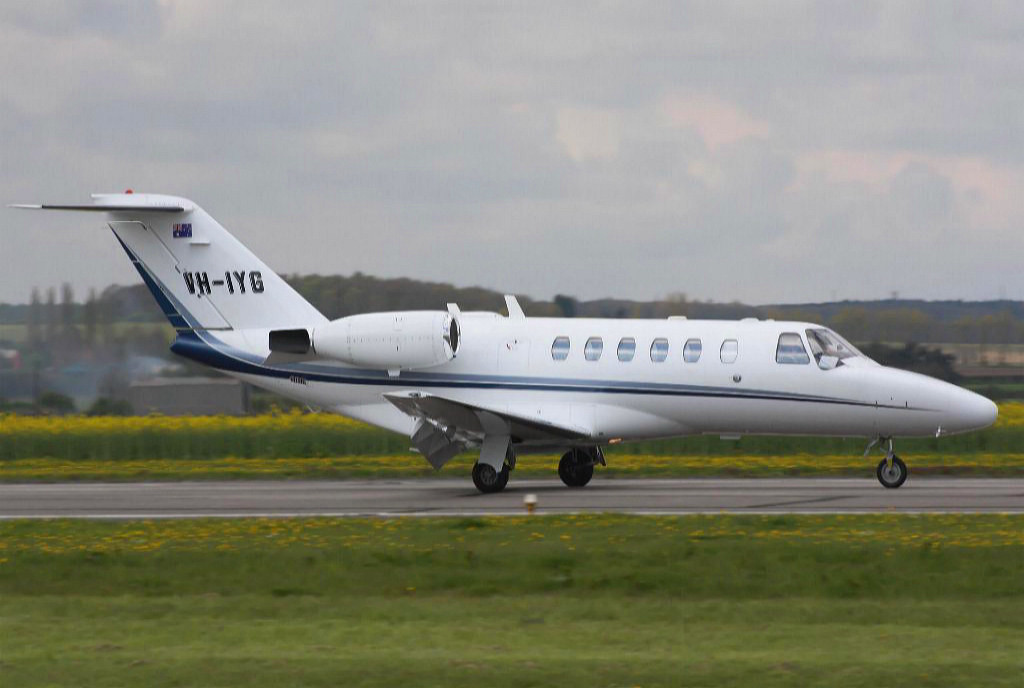 Citationjet 525 CJ2 VH-IYG arrives at Gamston during its air test from DSA.<br /> By Dave Grimsdale.