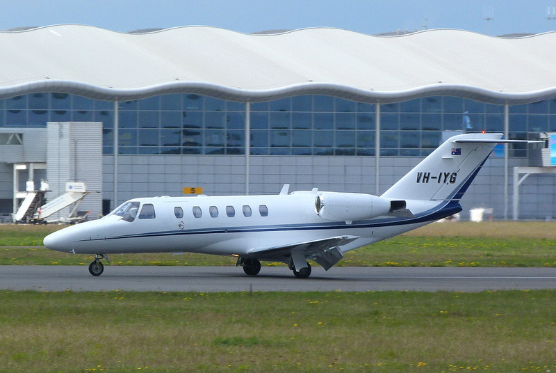 Citationjet 525 CJ2 VH-IYG returning for air test<br /> By Clive Featherstone.