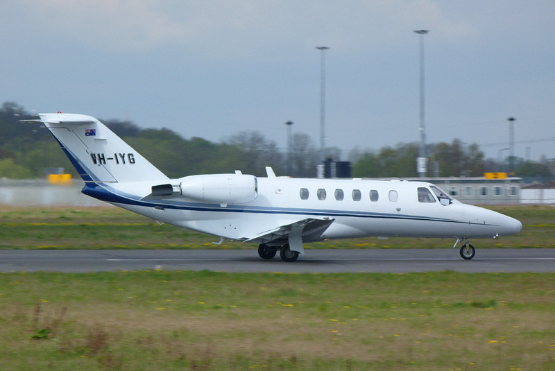 Citationjet 525 CJ2 VH-IYG on its first flight<br /> By Clive Featherstone.