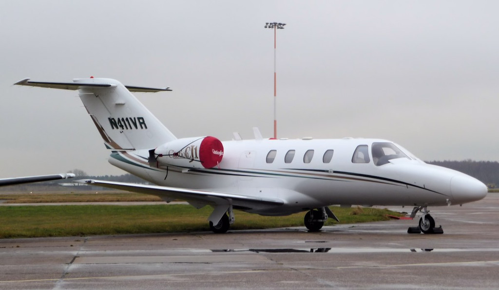 Cessna 525 Citation CJ1 N411VR is thought to have called in at DSA for maintenance whilst on a delivery flight to Nigeria.<br /> By Correne Calow.