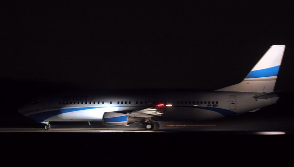 Enter Air 737-400 SP-ENI.<br /> By Jim Calow.
