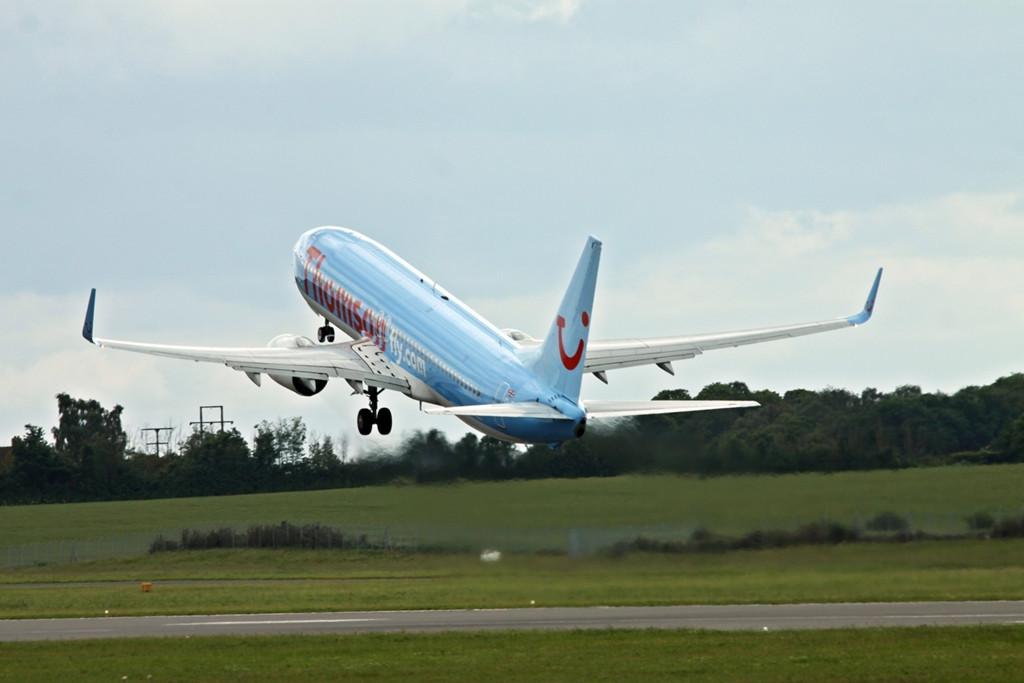 Thomson Airways 737-800  G-FDZE departs<br /> By Alan Jessop.