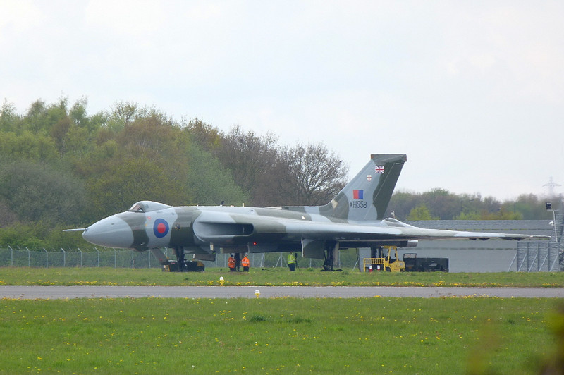 Almost ready for its first flight of the season, Vulcan B2 XH558 was in the engine test bay for full power engine runs.<br /> By Clive Featherstone.