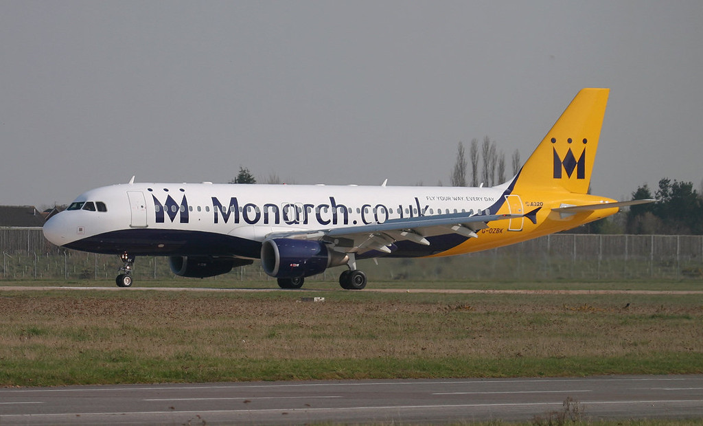 Monarch Airlines A320 G-OZBK<br /> By Jim Calow.