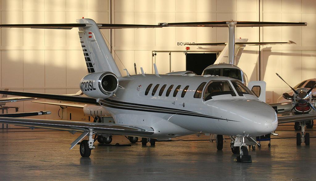 Cessna 525A CitationJet CJ2 N720SL (ex OE-FRA).<br /> By Jim Calow.