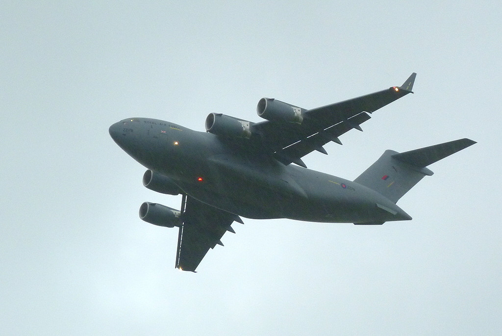 ZZ178 C-17 Globemaster III going around in the rain<br /> By Clive Featherstone.
