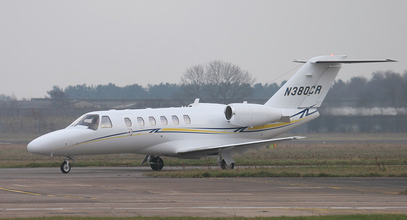 Cessna 525 CitationJet CJ1 N380CR.<br /> By Jim Calow.