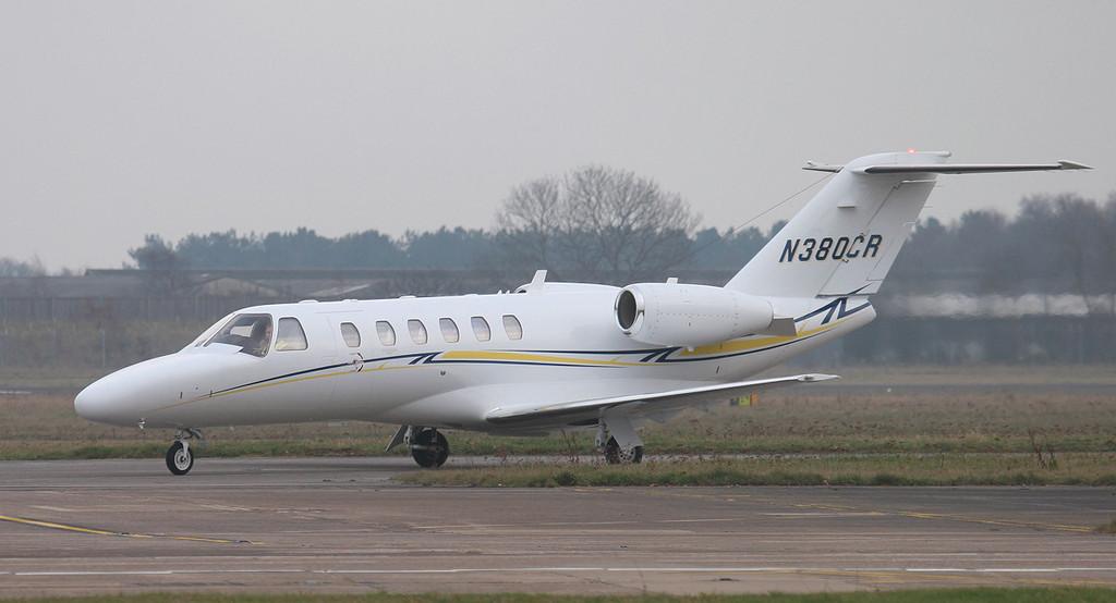Cessna 525 CitationJet CJ1 N380CR.<br /> By Jim Calow.
