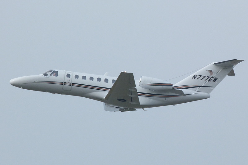 Cessna 525B CitationJet CJ3 N777EW departing for the USA.<br /> By Clive Featherstone.