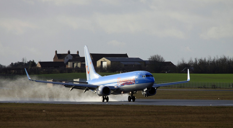 Thomson Airways 737-800 G-FDZX arrives from Tenerife.<br /> By Alan Jessop.