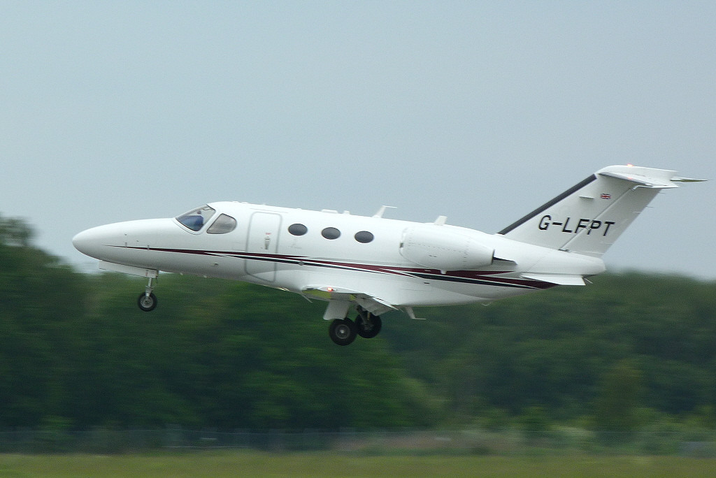 Cessna 510 Mustang G-LFPT gets airbourne for a test flight.<br /> By Clive Featherstone.