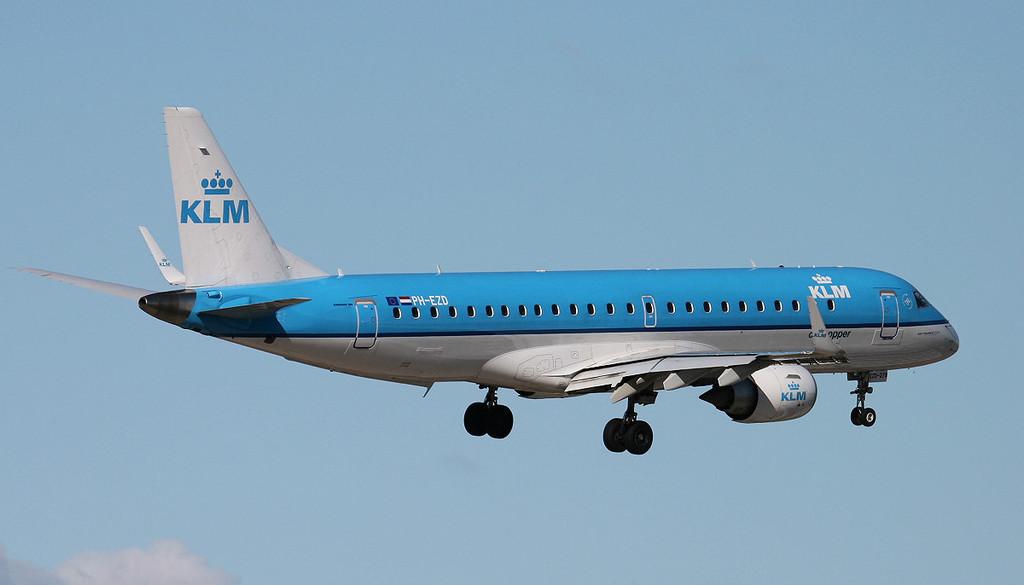 KLM Embraer ERJ-190-100STD PH-EZD.<br /> By Jim Calow.