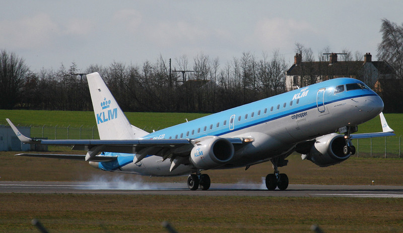 KLM Embraer ERJ-190-100STD PH-EZD.<br /> By Jim Calow.