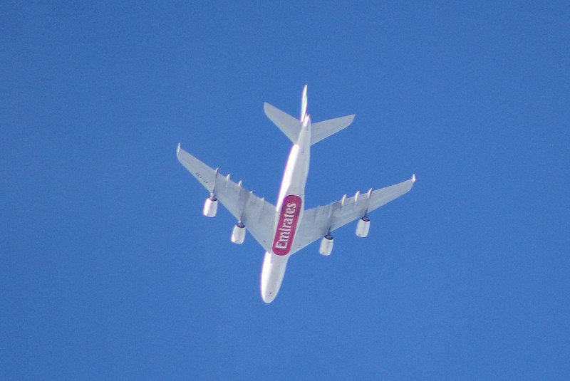 Emirates A380 A6-EDR OTT DSA on descent into Manchester.<br /> By Clive Featherstone.
