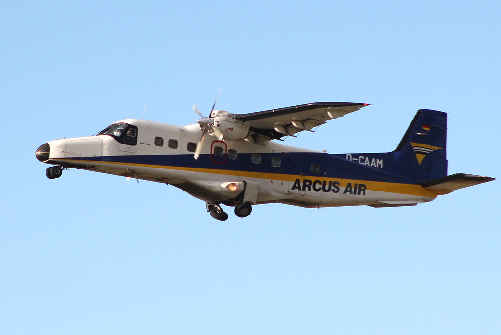 Arcus Air Dornier Do.228 D-CAAM departing early afternoon.<br /> By Clive Featherstone.