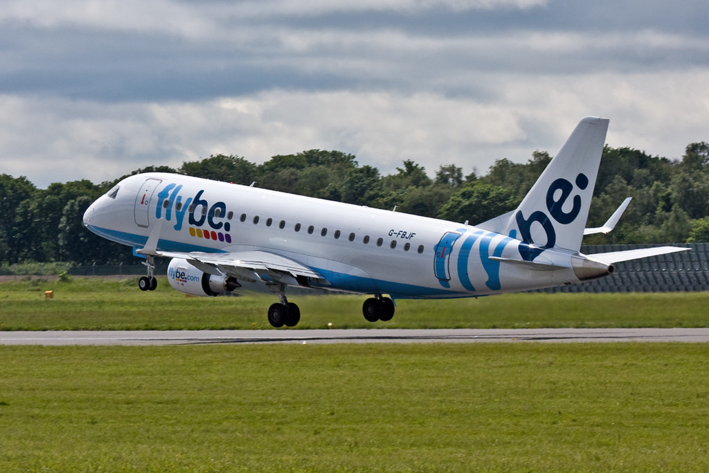 Flybe Embraer ERJ-175STD G-FBJF.<br /> By David Bladen.
