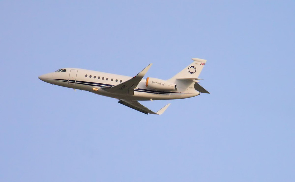Departing to Bournemouth......Ineous Aviation, Dassault Falcon 2000EX, M-CHEM.<br /> By Jim Calow.