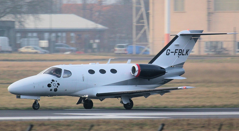 Cessna 510 Mustang, G-FBLK departing for Geneva.<br /> By Jim Calow.