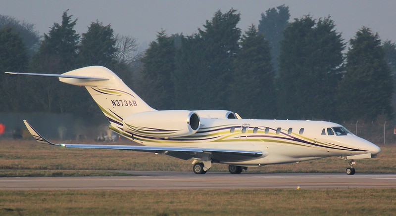 After yesterdays airtest Cessna 750 Citation X  N373AB taxis to rnwy 20 before departing for Munich.<br /> By Jim Calow.