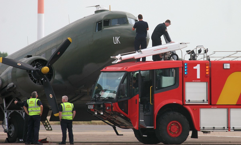 A fire tender was brought in to enable closer inspection of the nose.<br /> By Jim Calow.