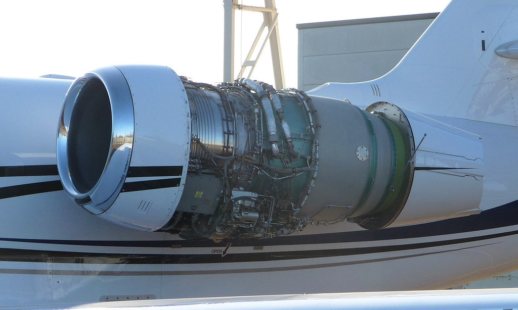 Pratt & Whitney Canada PW306C turbofan engine of Cessna 680 Citation Sovereign, N448RT<br /> By Correne Calow.