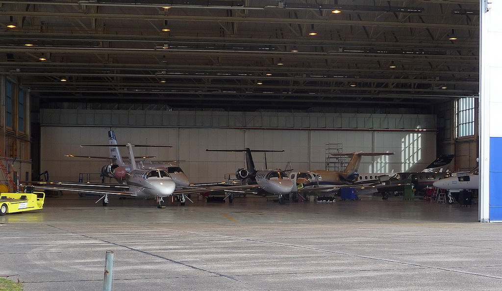 Doncaster Citation Service Centre hangar.........(left to right)<br /> M-VUEZ, N448RT, G-POWG, D-IVVB, G-EDCM, HB-VWW & G-USAR.<br /> By Correne Calow.