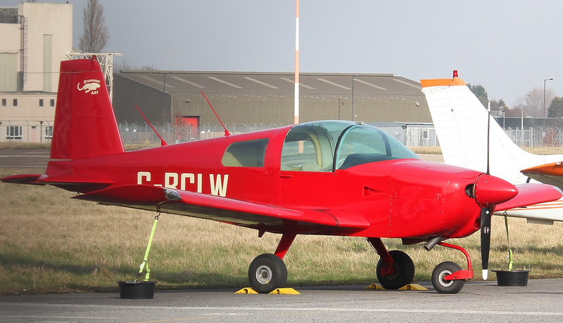 Grumman AA1 G-BCLW now with its wheel spats removed, after loosing one in the circuit on the 12th Feb.<br /> By Correne Calow.