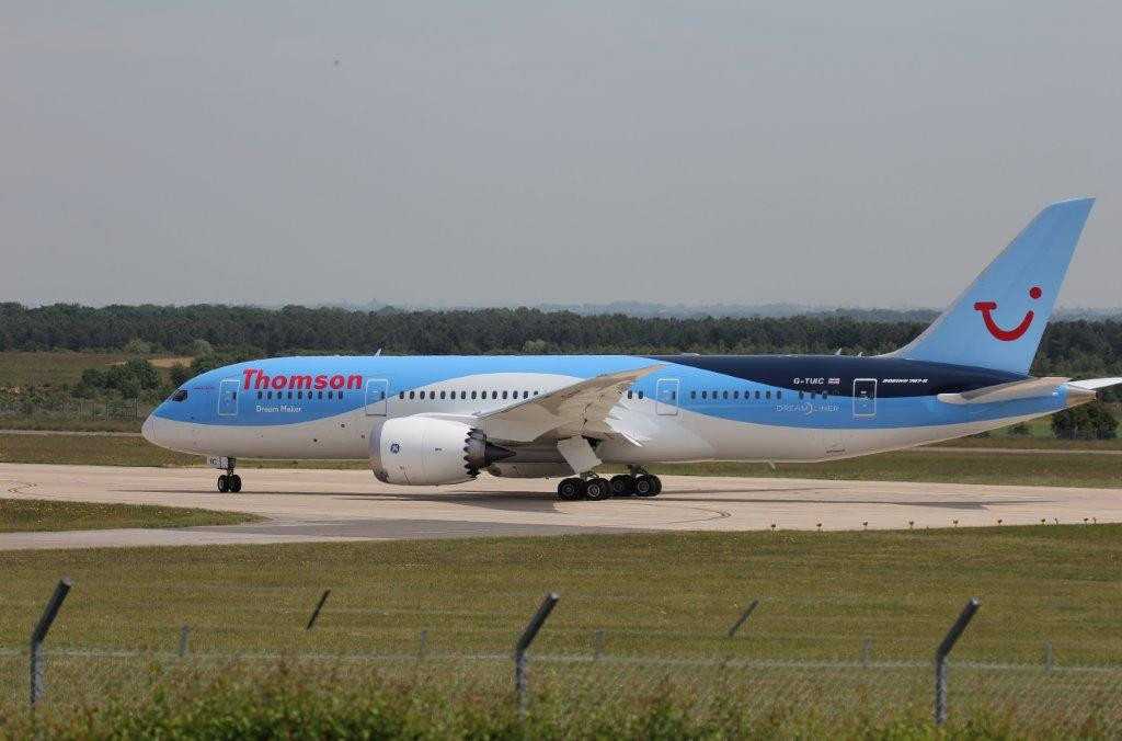 Thomson Airways 787-800 G-TUIC awaiting clearance to take-off<br /> By Steve Roper.
