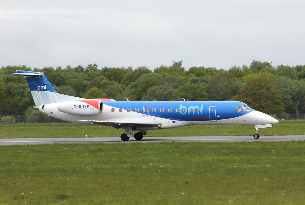 BMI Regional Embraer-135, G-RJXP <br /> By Clive Featherstone.