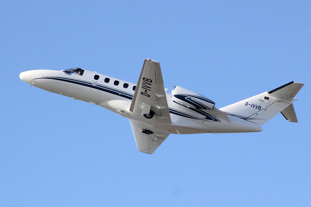 Sporting it's new livery, Cessna 525A Citation CJ2+ c/n 525A-0357, D-IVVB departs DSA.<br /> By Clive Featherstone.