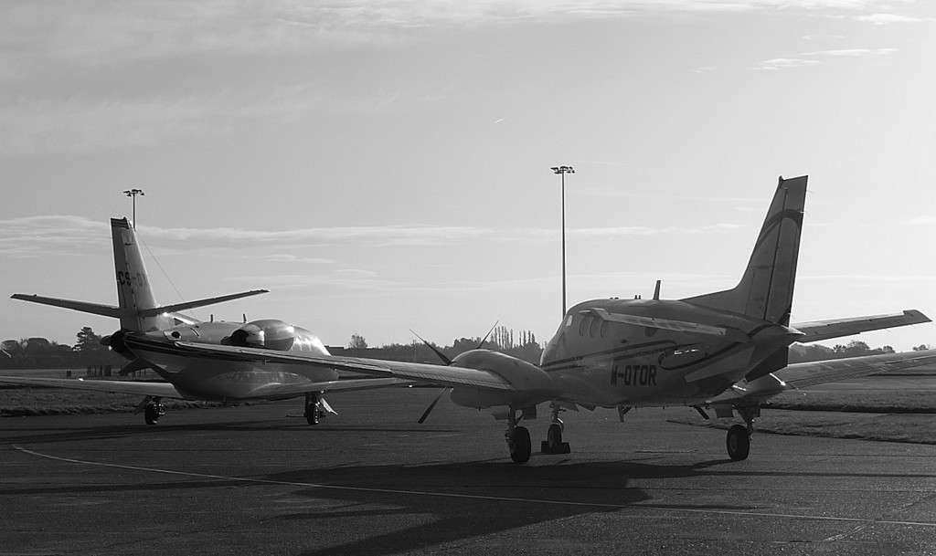 Netjets Europe, Cessna 560XL Citation XLS, CS-DXO <br /> and Beech C90B King Air, M-OTOR in the morning sun<br /> By Correne Calow.