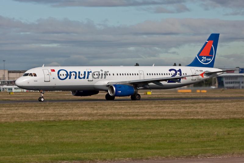 Onur Air A321 TC-OBK.<br /> By David Bladen.