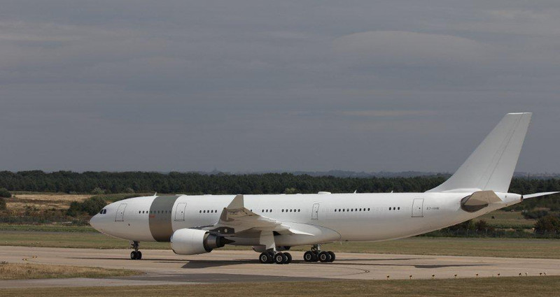 Qatar Amiri Flight Airbus A330-200, A7-HHM completes a 360 and heads to stand<br /> By Steve Roper.