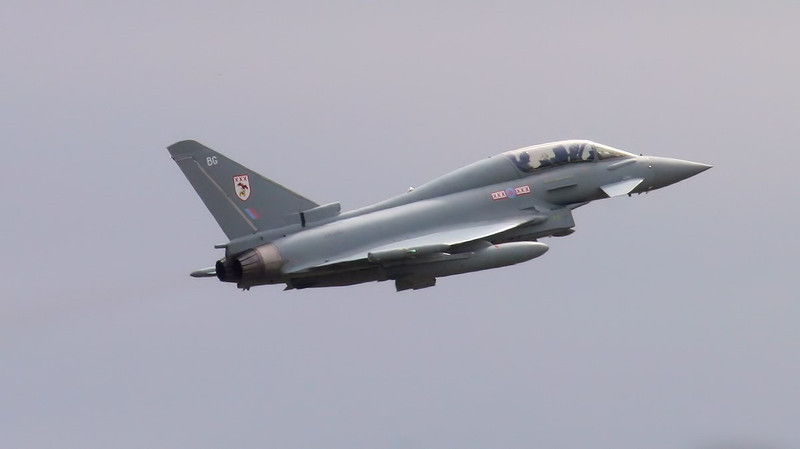 29Sqn Typhoon T.3 ZK380/BG made a single ILS approach.<br /> By Jim Calow.