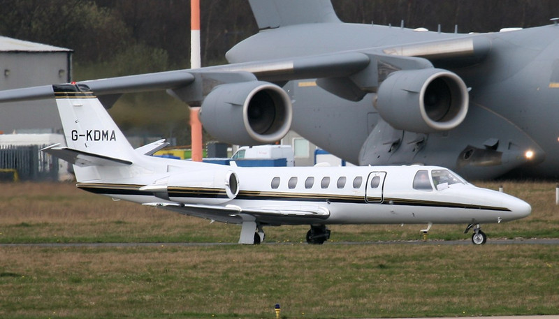 Cessna 560 Citation Encore G-KDMA, returns from the engine test bay.<br /> By Jim Calow.