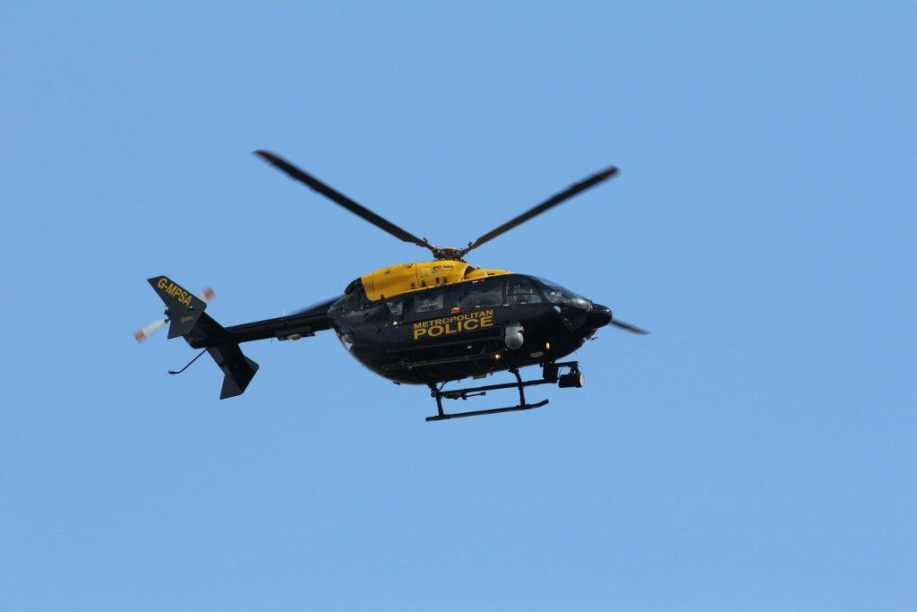 Metropolitan Police Air Support Unit Eurocopter EC145 G-MPSA, departing to Northolt.<br /> By Steve Roper.