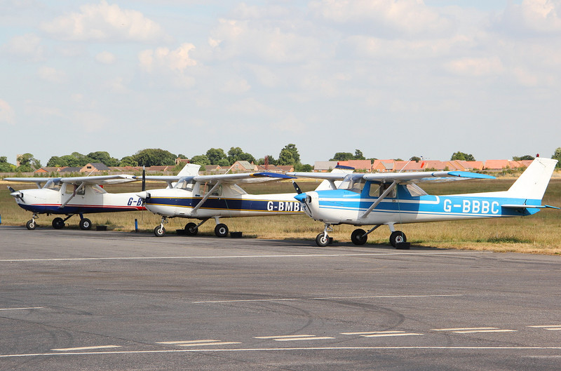 Line up of the flying schools C150 aircraft............ G-BDBU, G,BMBB & G-BBBC<br /> By Clive Featherstone.