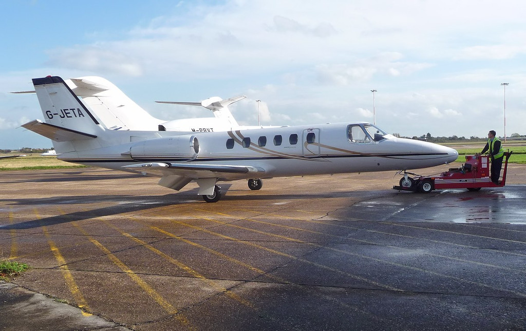Cessna 550 Citation II, G-JETA pushed by in the hangar<br /> By Correne Calow.