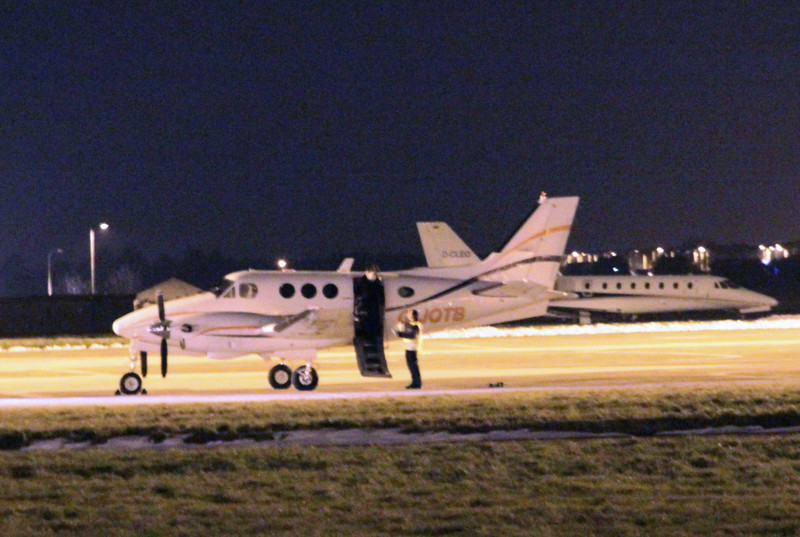 Jota Aviation Beech 90 King Air, G-JOTB arrived around 9pm before departing later to Southend.<br /> By Clive Featherstone.